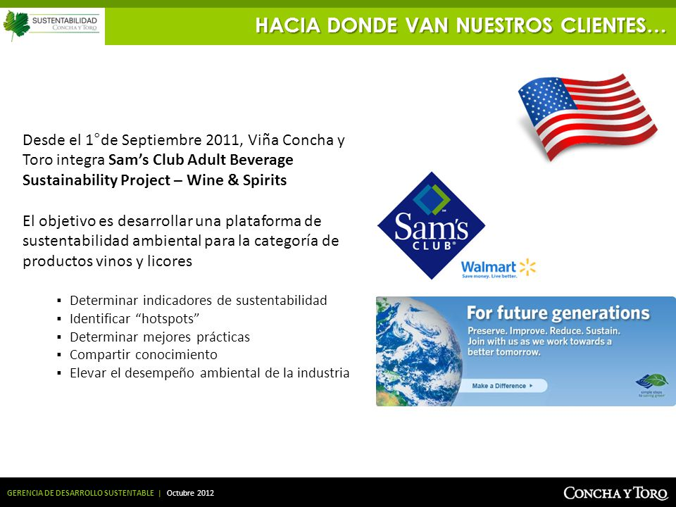 GERENCIA DE DESARROLLO SUSTENTABLE | Octubre 2012 Desde el 1°de Septiembre 2011, Viña Concha y Toro integra Sams Club Adult Beverage Sustainability Pr
