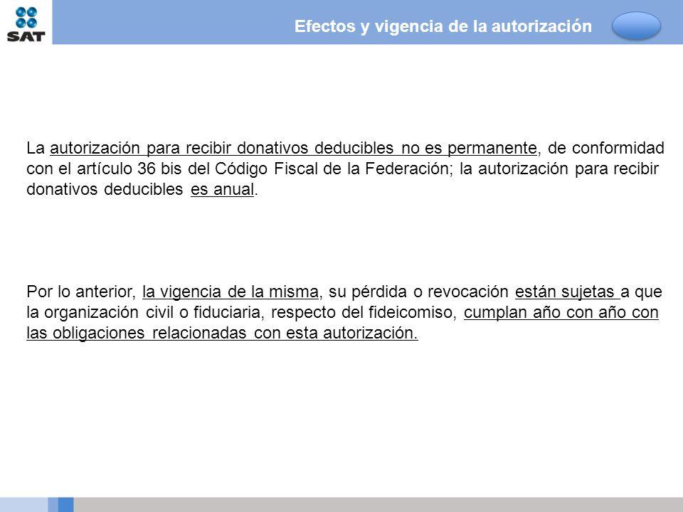 La autorización para recibir donativos deducibles no es permanente, de conformidad con el artículo 36 bis del Código Fiscal de la Federación; la autor