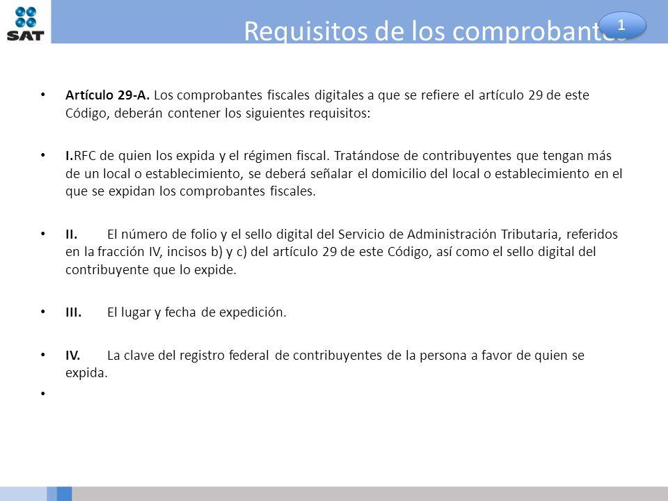Requisitos de los comprobantes Artículo 29-A. Los comprobantes fiscales digitales a que se refiere el artículo 29 de este Código, deberán contener los