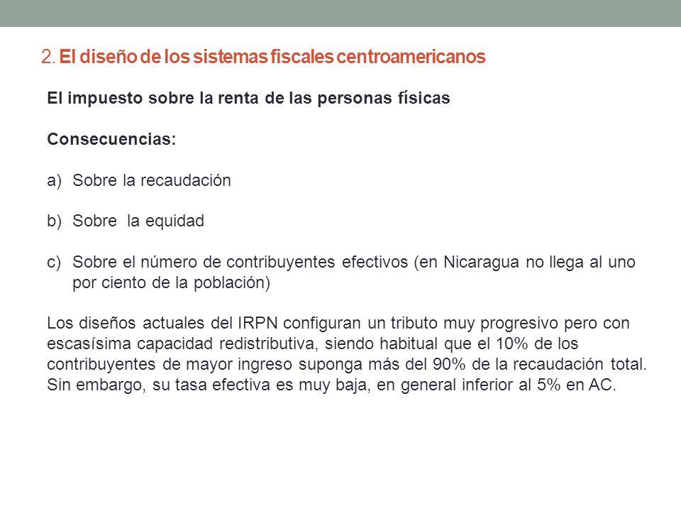 2. El diseño de los sistemas fiscales centroamericanos El impuesto sobre la renta de las personas físicas Consecuencias: a)Sobre la recaudación b)Sobr
