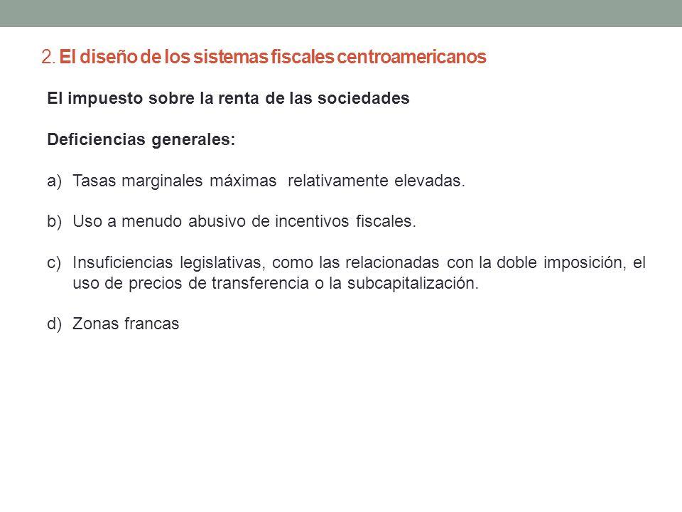2. El diseño de los sistemas fiscales centroamericanos El impuesto sobre la renta de las sociedades Deficiencias generales: a)Tasas marginales máximas