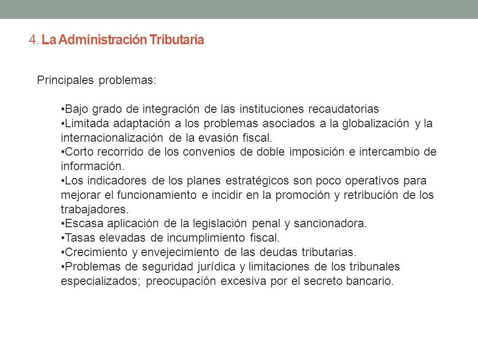 4. La Administración Tributaria Principales problemas: Bajo grado de integración de las instituciones recaudatorias Limitada adaptación a los problema