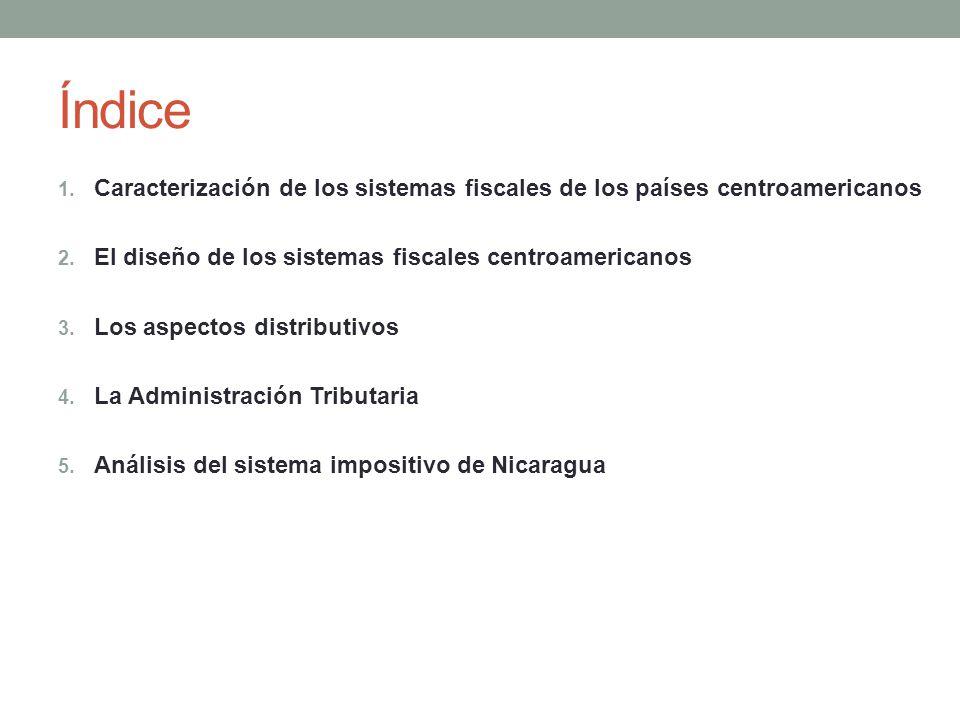 Índice 1. Caracterización de los sistemas fiscales de los países centroamericanos 2.