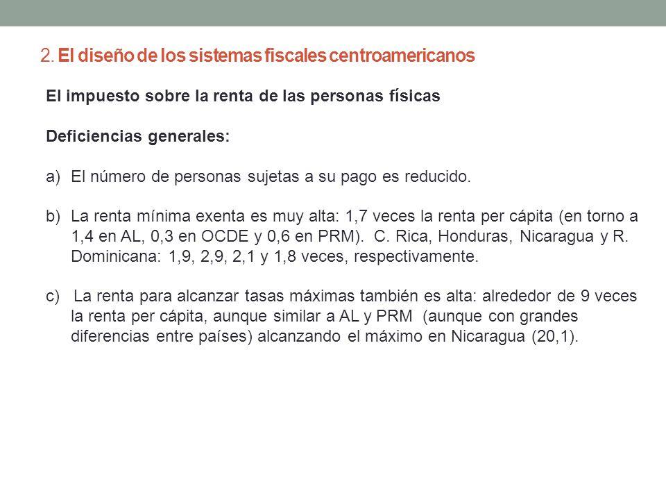 2. El diseño de los sistemas fiscales centroamericanos El impuesto sobre la renta de las personas físicas Deficiencias generales: a)El número de perso
