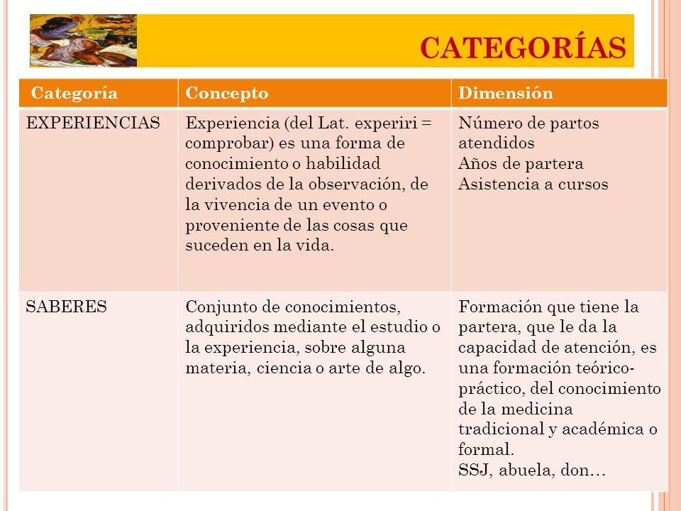 CategoríaConceptoDimensión EXPERIENCIASExperiencia (del Lat.