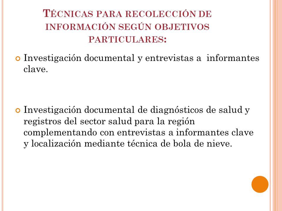T ÉCNICAS PARA RECOLECCIÓN DE INFORMACIÓN SEGÚN OBJETIVOS PARTICULARES : Investigación documental y entrevistas a informantes clave.