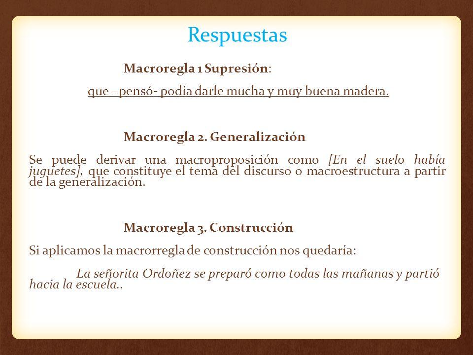 Respuestas Macroregla 1 Supresión: que –pensó- podía darle mucha y muy buena madera. Macroregla 2. Generalización Se puede derivar una macroproposició