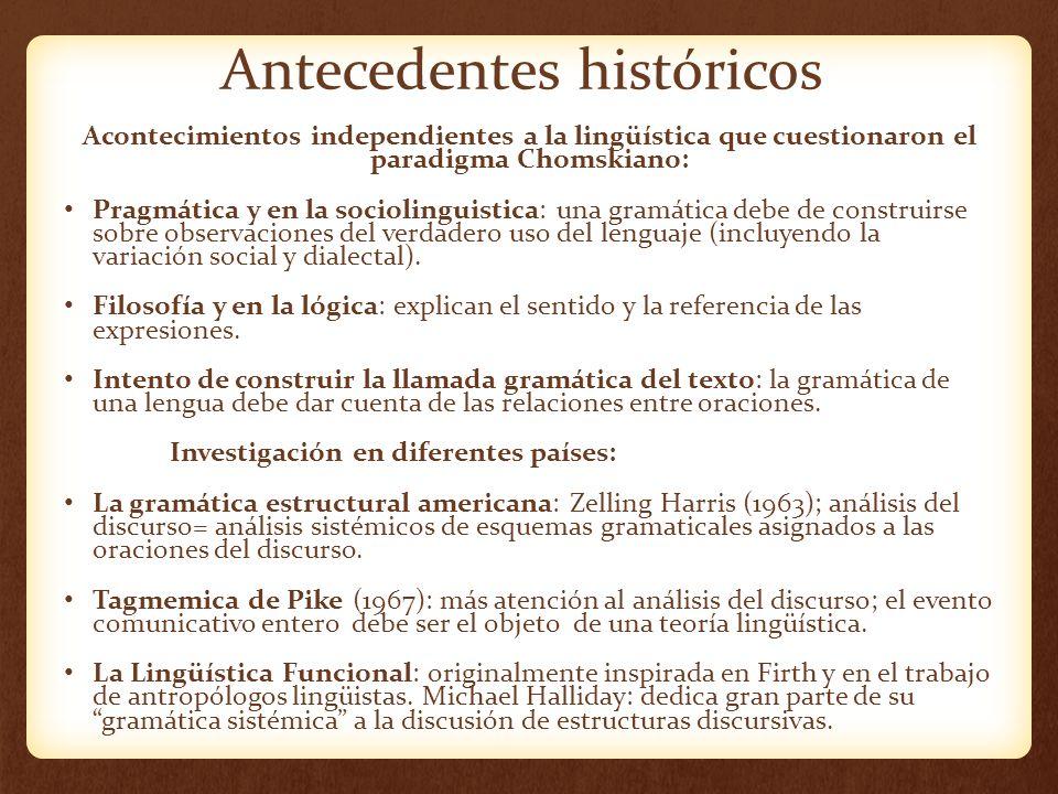 Investigaciones en Países Gramática estructural Americana Tagmémica de Pike Funcionalismo La GGT=Chomsky Lingüística Alemana Estructuralismo Francés Estructuralismo Checo