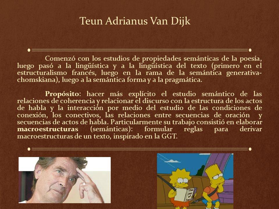 Teun Adrianus Van Dijk Comenzó con los estudios de propiedades semánticas de la poesía, luego pasó a la lingüística y a la lingüística del texto (prim