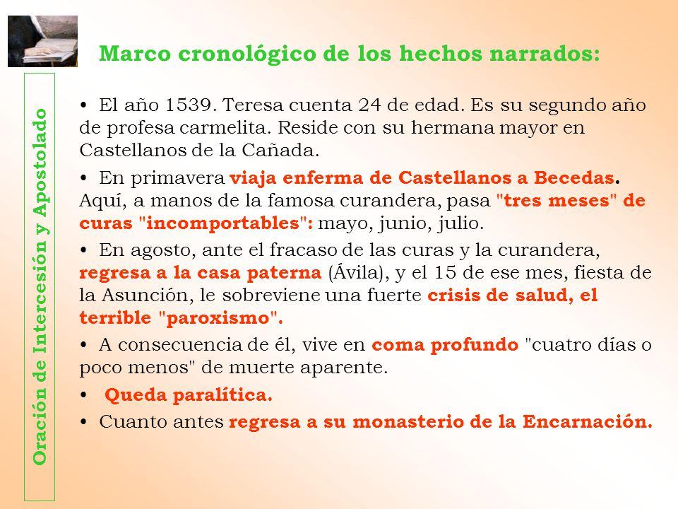 Marco cronológico de los hechos narrados: El año 1539. Teresa cuenta 24 de edad. Es su segundo año de profesa carmelita. Reside con su hermana mayor e