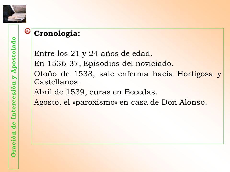 Cronología: Entre los 21 y 24 años de edad. En 1536-37, Episodios del noviciado. Otoño de 1538, sale enferma hacia Hortigosa y Castellanos. Abril de 1
