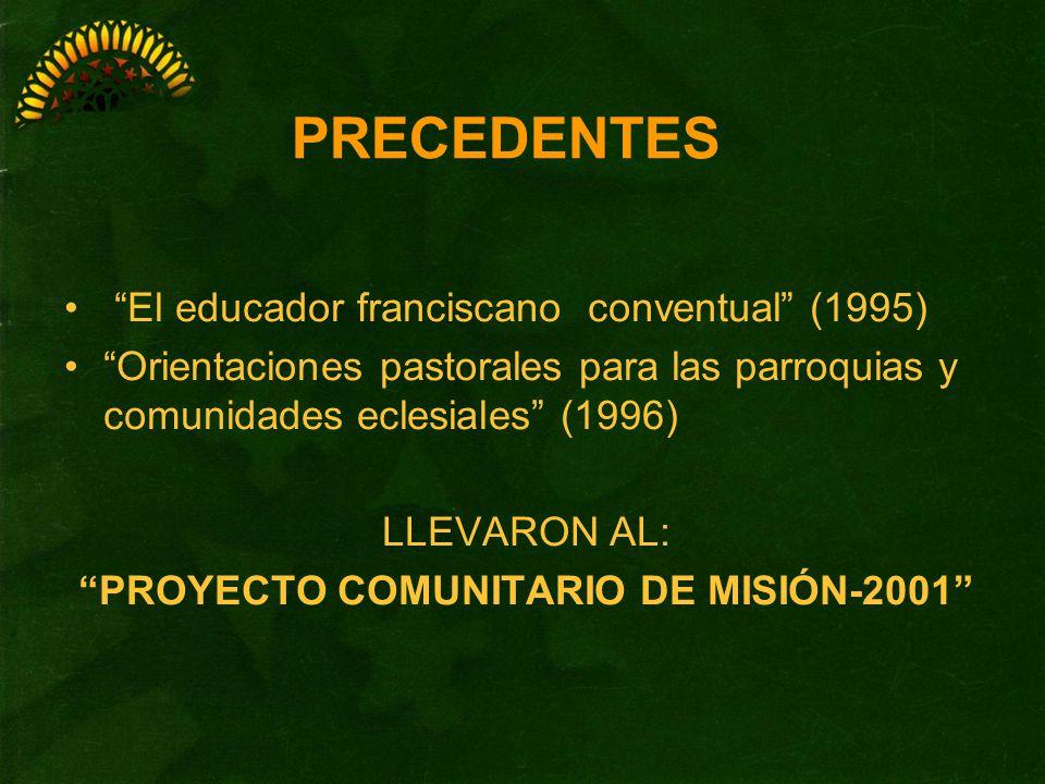 El educador franciscano conventual (1995) Orientaciones pastorales para las parroquias y comunidades eclesiales (1996) LLEVARON AL: PROYECTO COMUNITAR