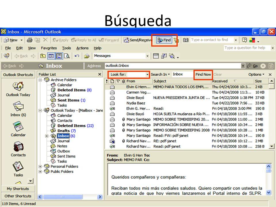 Send/Receive Groups Verificar mensajes por tiempo (minutos) Al salir de Outlook, envia y recibe correos electrónicos