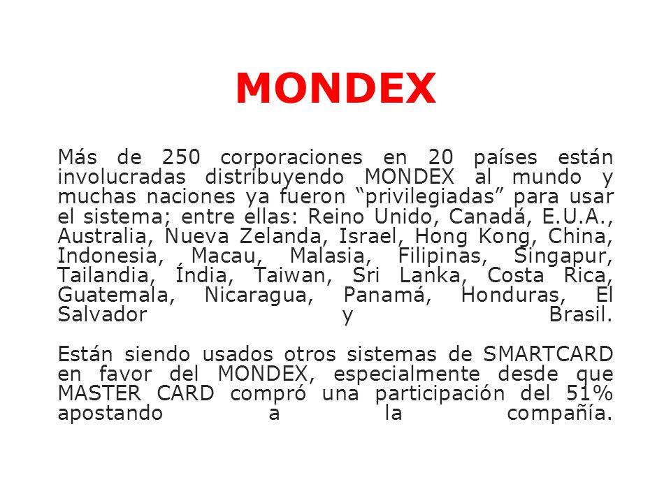 Más de 250 corporaciones en 20 países están involucradas distribuyendo MONDEX al mundo y muchas naciones ya fueron privilegiadas para usar el sistema;