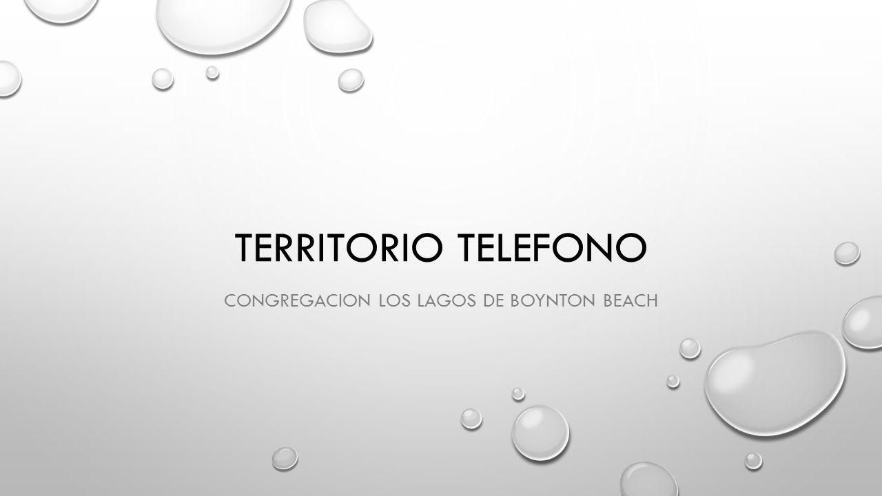TERRITORIO TELEFONO CONGREGACION LOS LAGOS DE BOYNTON BEACH