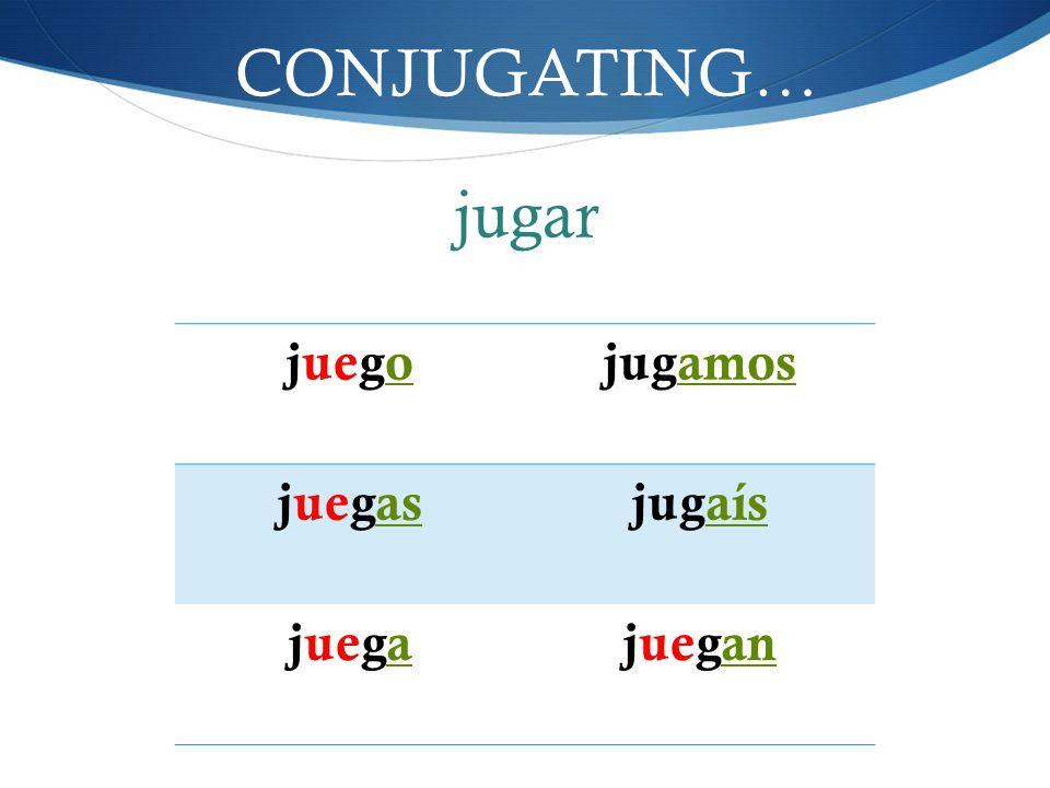 CONJUGATING… juegojugamos juegasjugaís juegajuegan jugar