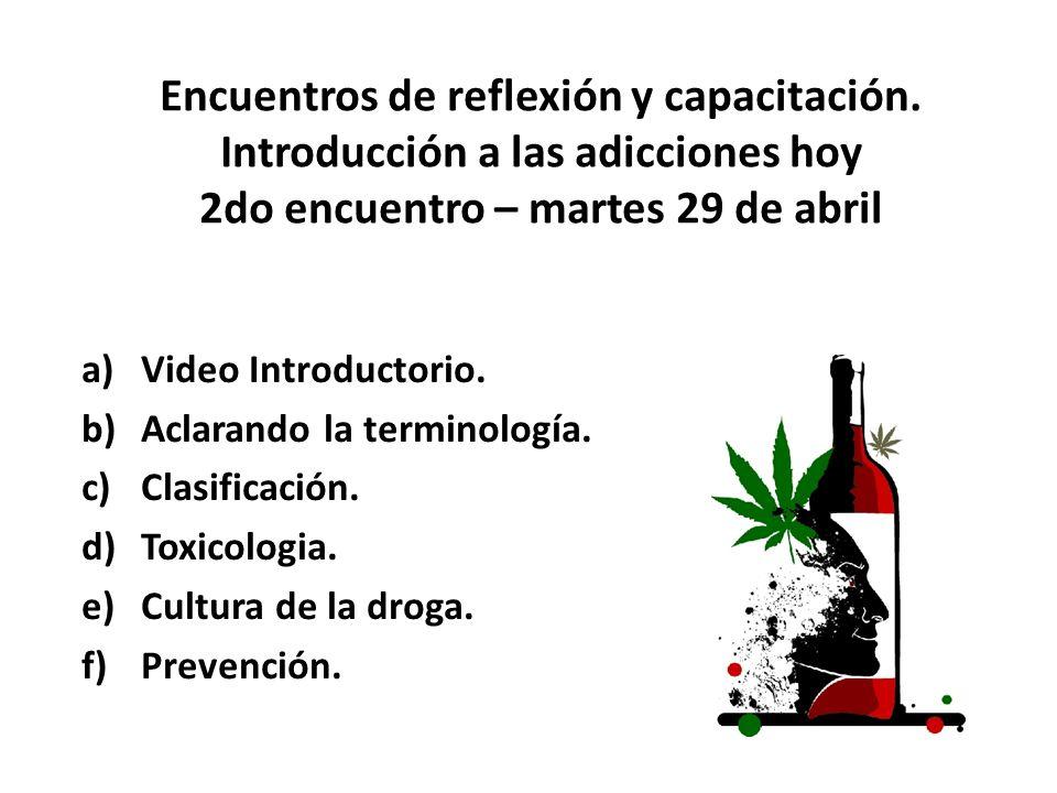 Encuentros de reflexión y capacitación. Introducción a las adicciones hoy 2do encuentro – martes 29 de abril a)Video Introductorio. b)Aclarando la ter
