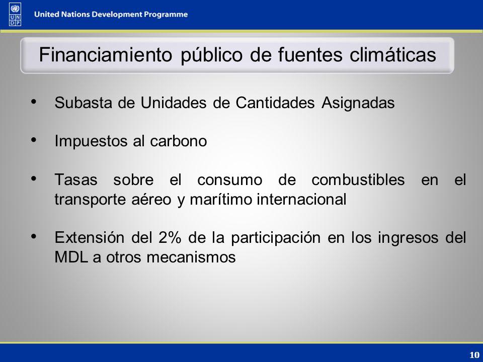 10 Financiamiento público de fuentes climáticas Subasta de Unidades de Cantidades Asignadas Impuestos al carbono Tasas sobre el consumo de combustibles en el transporte aéreo y marítimo internacional Extensión del 2% de la participación en los ingresos del MDL a otros mecanismos