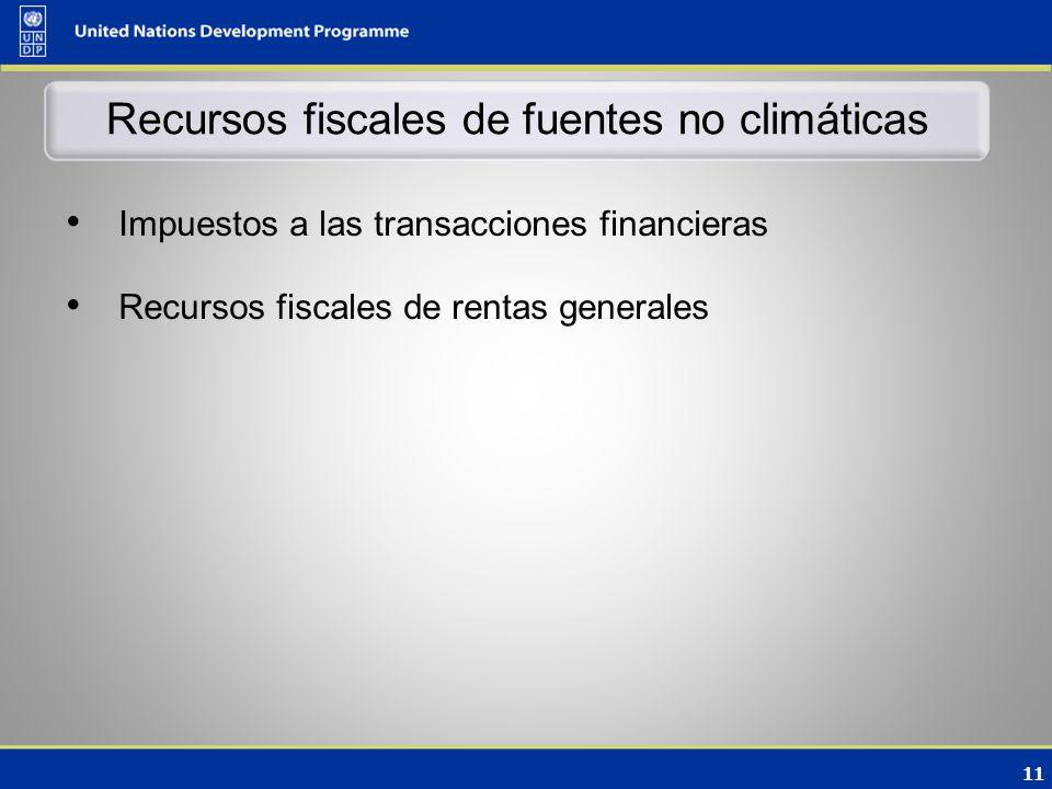 11 Recursos fiscales de fuentes no climáticas Impuestos a las transacciones financieras Recursos fiscales de rentas generales