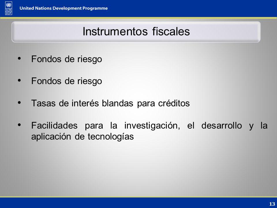 13 Instrumentos fiscales Fondos de riesgo Tasas de interés blandas para créditos Facilidades para la investigación, el desarrollo y la aplicación de tecnologías