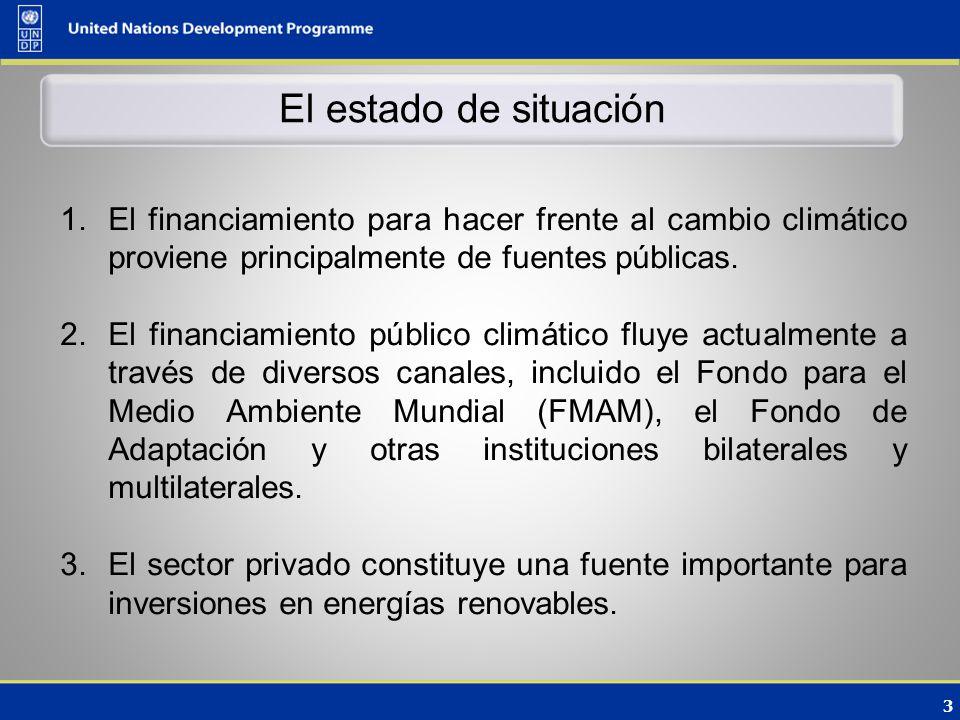 3 El estado de situación 1.El financiamiento para hacer frente al cambio climático proviene principalmente de fuentes públicas.