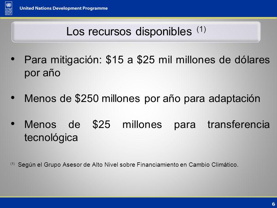 6 Los recursos disponibles (1) Para mitigación: $15 a $25 mil millones de dólares por año Menos de $250 millones por año para adaptación Menos de $25 millones para transferencia tecnológica (1) Según el Grupo Asesor de Alto Nivel sobre Financiamiento en Cambio Climático.