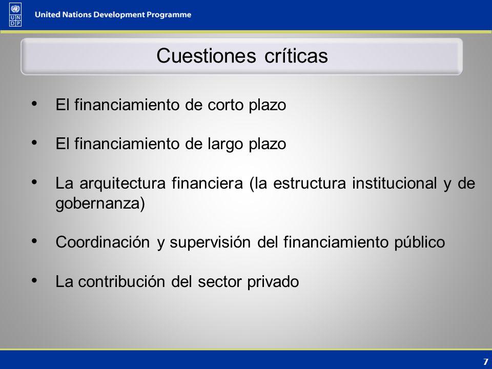 7 Cuestiones críticas El financiamiento de corto plazo El financiamiento de largo plazo La arquitectura financiera (la estructura institucional y de gobernanza) Coordinación y supervisión del financiamiento público La contribución del sector privado
