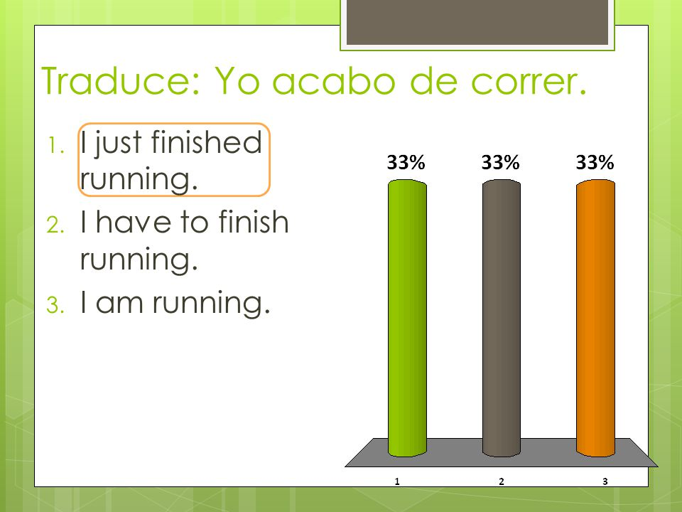 Traduce: Yo acabo de correr. 1. I just finished running.