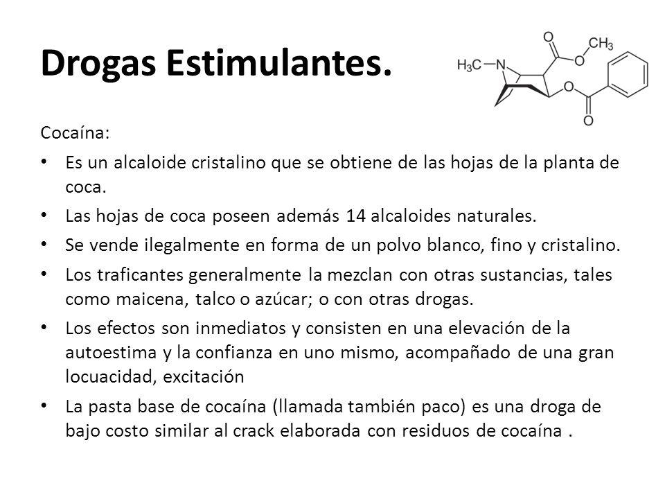 Drogas Estimulantes. Cocaína: Es un alcaloide cristalino que se obtiene de las hojas de la planta de coca. Las hojas de coca poseen además 14 alcaloid