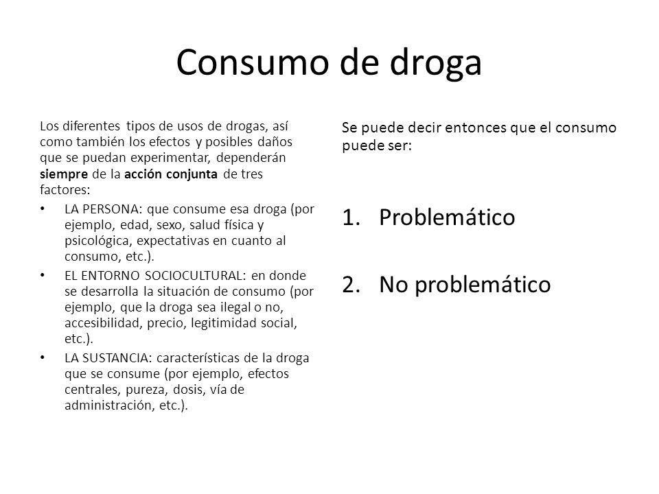 Consumo de droga Los diferentes tipos de usos de drogas, así como también los efectos y posibles daños que se puedan experimentar, dependerán siempre