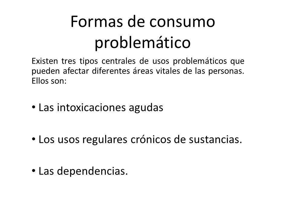 Formas de consumo problemático Existen tres tipos centrales de usos problemáticos que pueden afectar diferentes áreas vitales de las personas. Ellos s