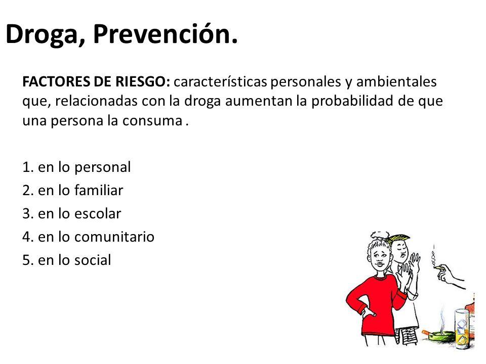 Droga, Prevención. FACTORES DE RIESGO: características personales y ambientales que, relacionadas con la droga aumentan la probabilidad de que una per