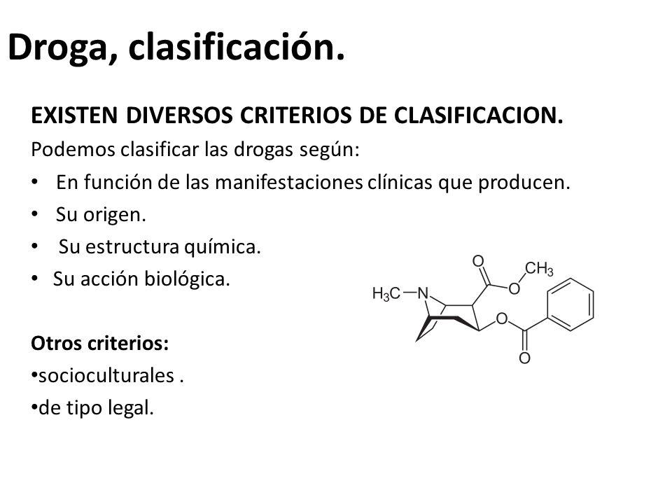 Droga, clasificación. EXISTEN DIVERSOS CRITERIOS DE CLASIFICACION. Podemos clasificar las drogas según: En función de las manifestaciones clínicas que