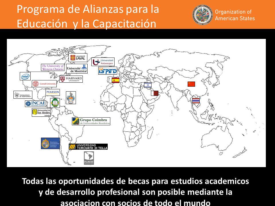 Todas las oportunidades de becas para estudios academicos y de desarrollo profesional son posible mediante la asociacion con socios de todo el mundo Programa de Alianzas para la Educación y la Capacitación