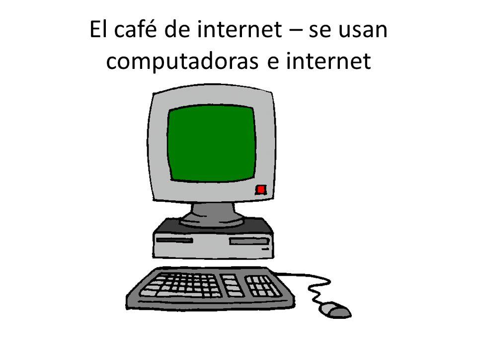 El café de internet – se usan computadoras e internet