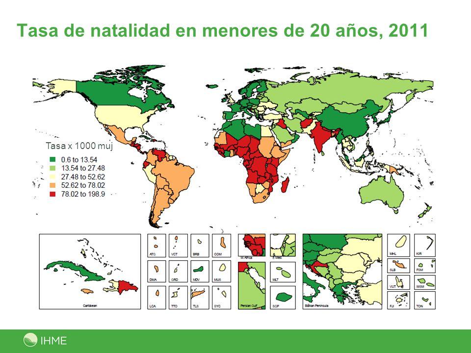 Tasa de natalidad en menores de 20 años, 2011 Tasa x 1000 muj