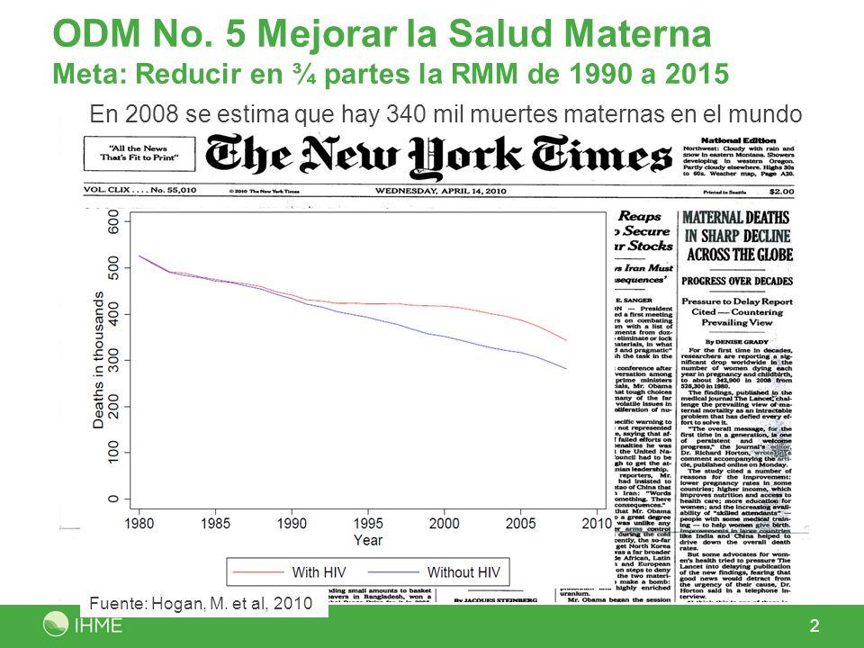 ODM No. 5 Mejorar la Salud Materna Meta: Reducir en ¾ partes la RMM de 1990 a 2015 2 En 2008 se estima que hay 340 mil muertes maternas en el mundo Fu