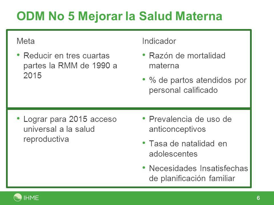 ODM No 5 Mejorar la Salud Materna Meta Reducir en tres cuartas partes la RMM de 1990 a 2015 Lograr para 2015 acceso universal a la salud reproductiva