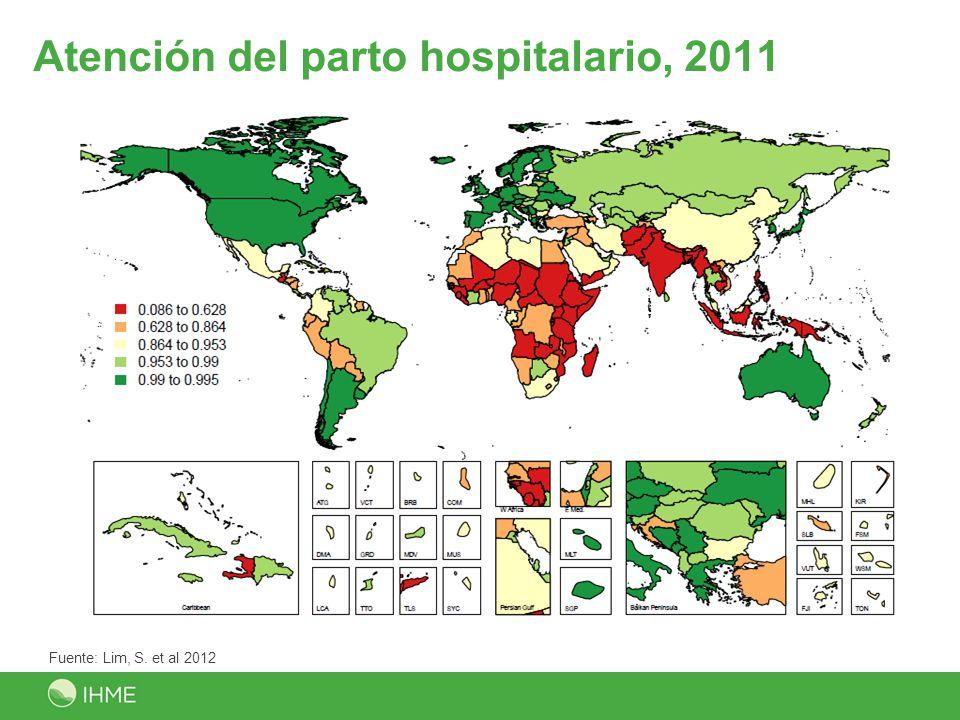Atención del parto hospitalario, 2011 Fuente: Lim, S. et al 2012