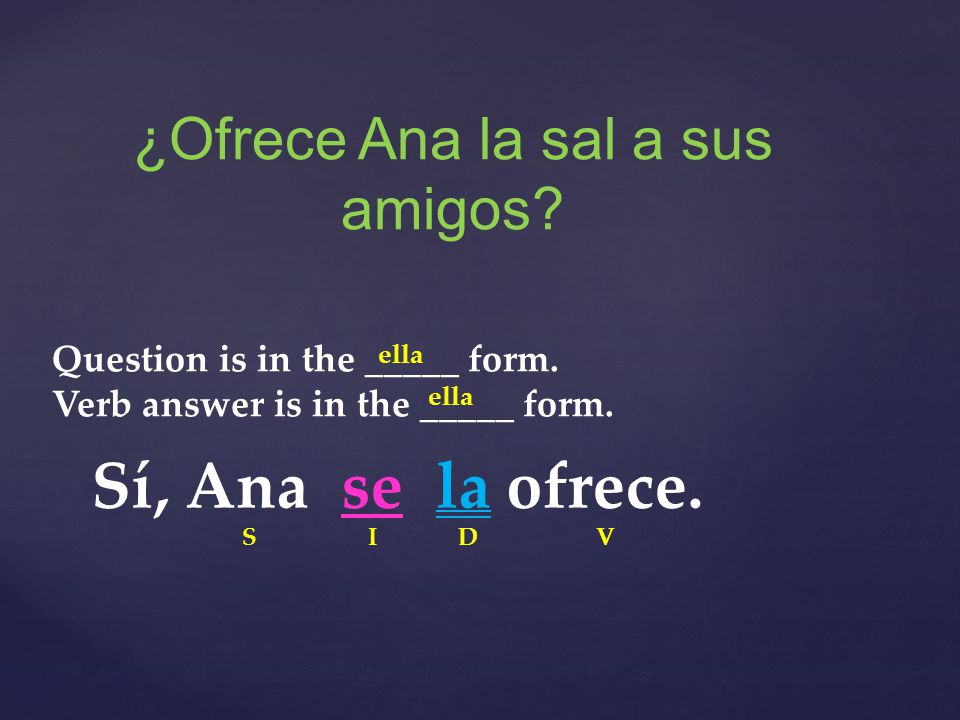 ¿Ofrece Ana la sal a sus amigos. Question is in the _____ form.