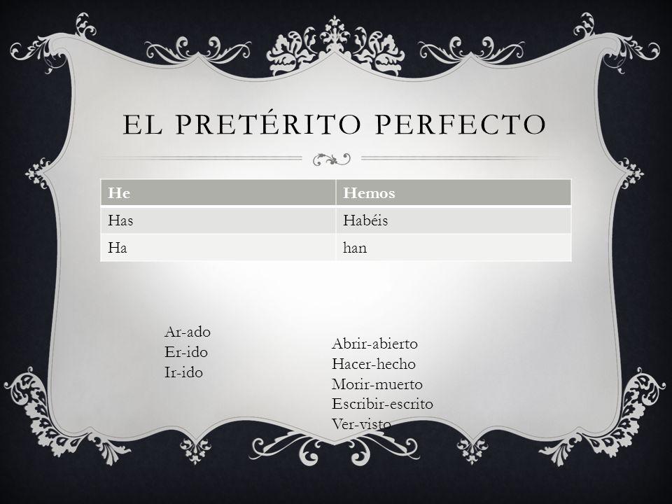 EL PRETÉRITO PERFECTO HeHemos HasHabéis Hahan Ar-ado Er-ido Ir-ido Abrir-abierto Hacer-hecho Morir-muerto Escribir-escrito Ver-visto