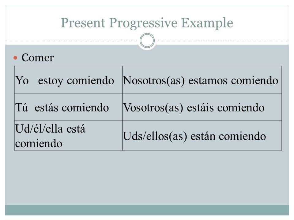 Present Progressive Example Comer Yo estoy comiendoNosotros(as) estamos comiendo Tú estás comiendoVosotros(as) estáis comiendo Ud/él/ella está comiend