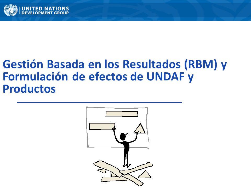 Gestión Basada en los Resultados (RBM) y Formulación de efectos de UNDAF y Productos