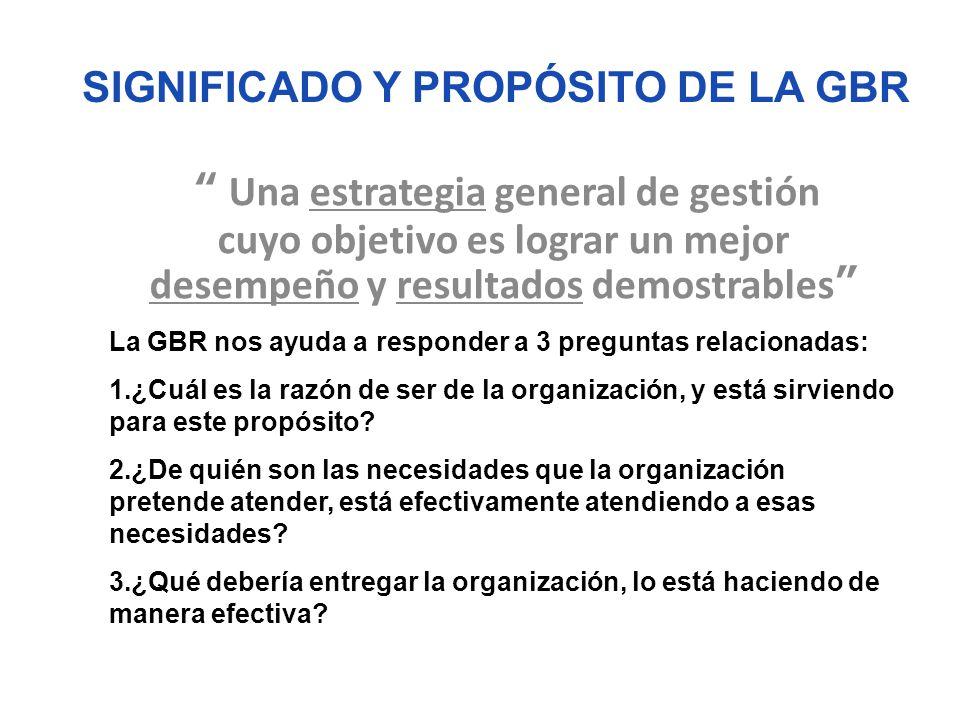 SIGNIFICADO Y PROPÓSITO DE LA GBR Una estrategia general de gestión cuyo objetivo es lograr un mejor desempeño y resultados demostrables La GBR nos ay