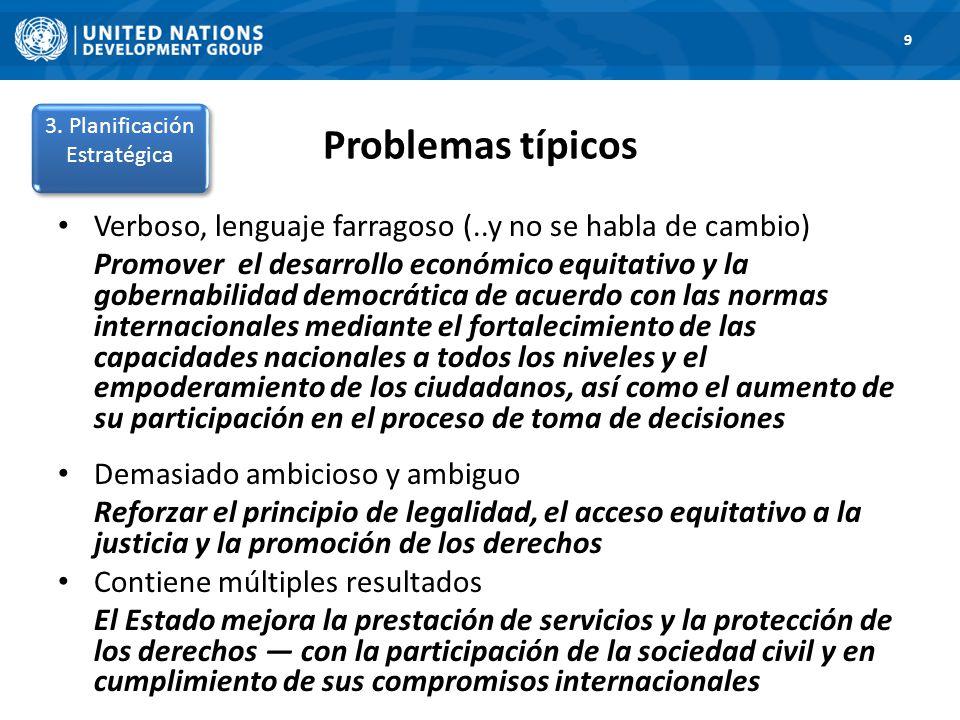 Problemas típicos 1. Road Map 9 Verboso, lenguaje farragoso (..y no se habla de cambio) Promover el desarrollo económico equitativo y la gobernabilida