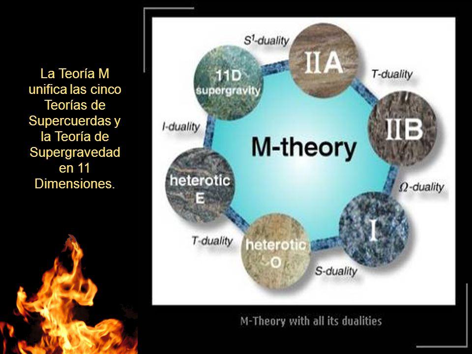 La Teoría M unifica las cinco Teorías de Supercuerdas y la Teoría de Supergravedad en 11 Dimensiones.