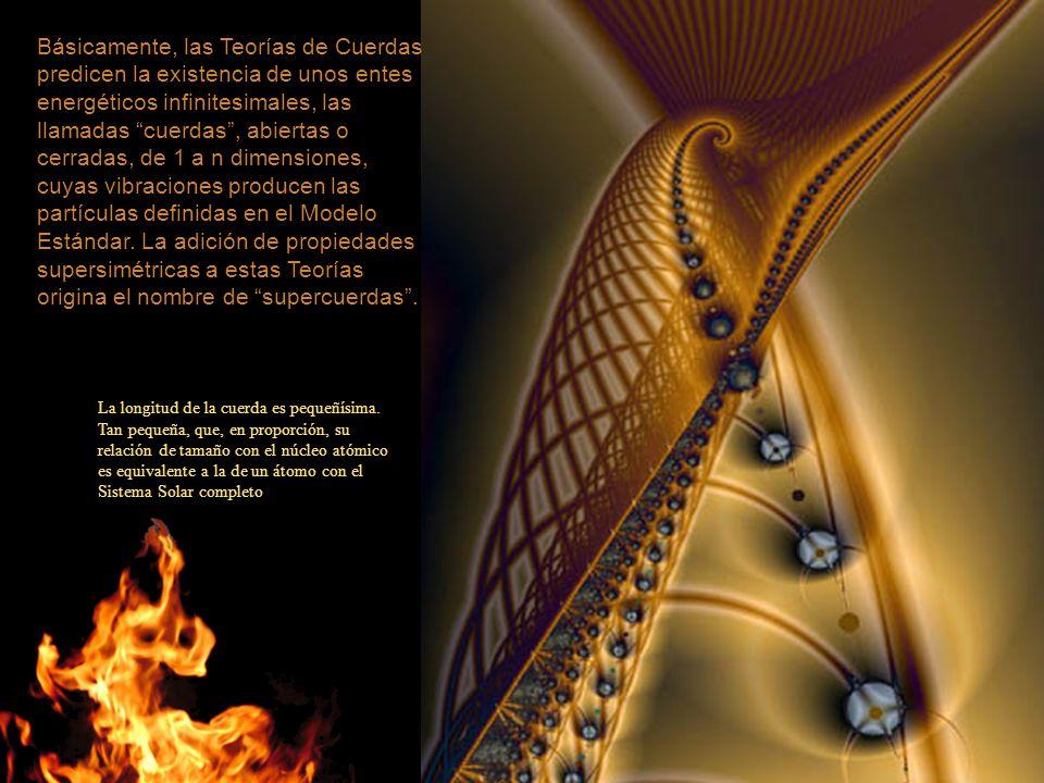 Básicamente, las Teorías de Cuerdas predicen la existencia de unos entes energéticos infinitesimales, las llamadas cuerdas, abiertas o cerradas, de 1