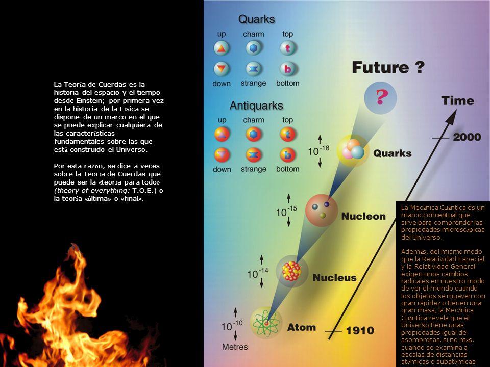 La Teor í a de Cuerdas es la historia del espacio y el tiempo desde Einstein; por primera vez en la historia de la F í sica se dispone de un marco en