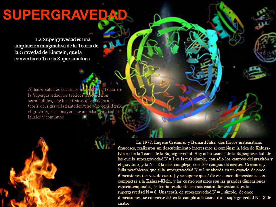 La Supergravedad es una ampliación imaginativa de la Teoría de la Gravedad de Einstein, que la convertía en Teoría Supersimétrica Al hacer cálculos cu