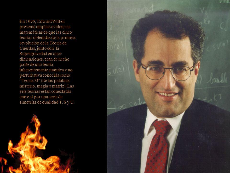 En 1995, Edward Witten presentó amplias evidencias matemáticas de que las cinco teorías obtenidas de la primera revolución de la Teoría de Cuerdas, ju